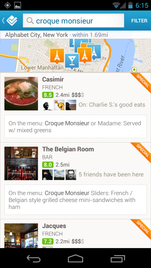 Foursquare-Menü-Araması