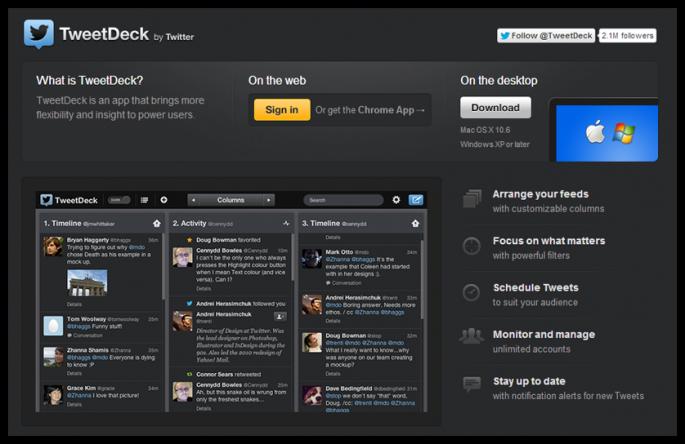 TweetDeck sosyal medya aracı